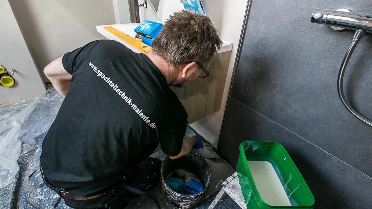 Spachteltechnik Malente Fugenlos Bad Badezimmer Wandgestaltung 19